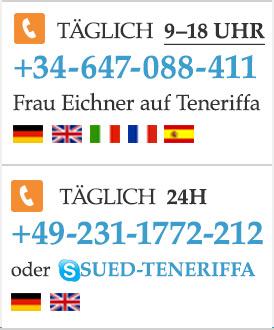 Rufen Sie uns an: +34-647-088-411 für Sie vor Ort auf Teneriffa