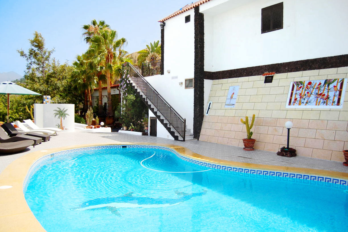 The swimming pool with heated salt water pool (4x8m, approx. 27°C/80°F by air heat pump, cleaned weekly), snail shower (warm water) and sunbeds
