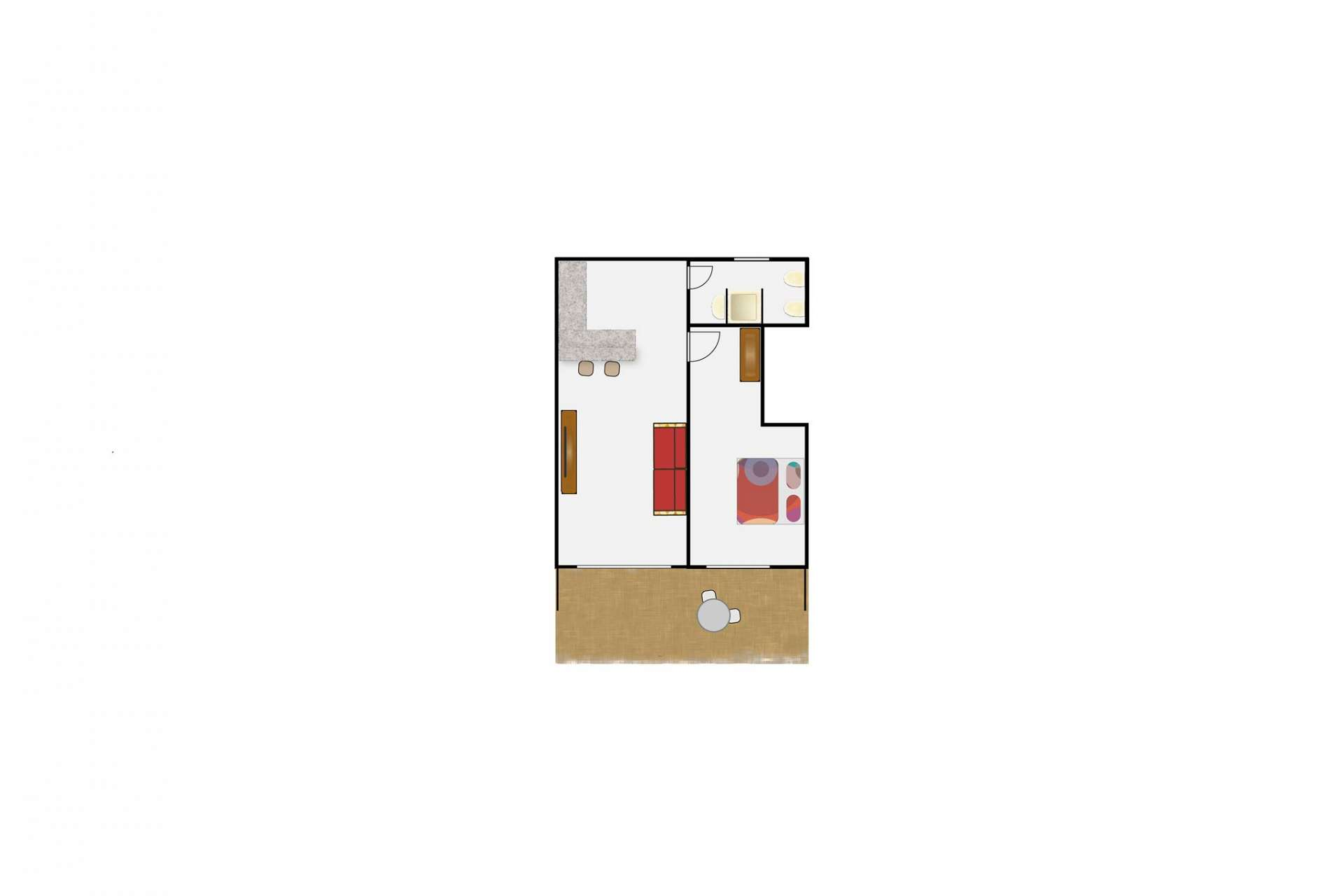 Layout of Apartment Leon, 1 Schlafzimmer, Finca Montimar